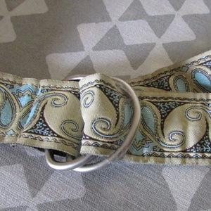 """Gold/Aqua fabric belt adjustable 44"""""""